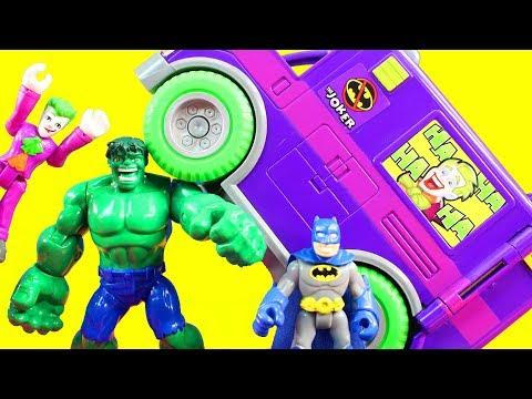 Imaginext Joker Creates Mind Control Machine Hulk Batman Robin Superhero Justice League Battle