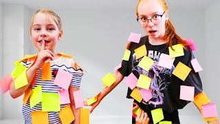 Ksyusha and Nastya Pretend Play with colorful stickers