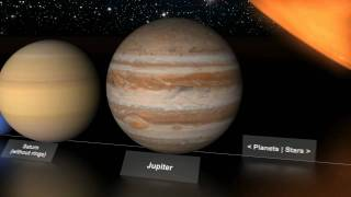 Planets' and stars' size comparison