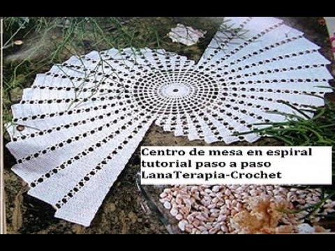 Centro de mesa en espiral part 2 lanaterapia crochet - Centro de mesa a crochet ovalado ...