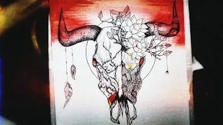 Timelapsed Bull Skull Drawing