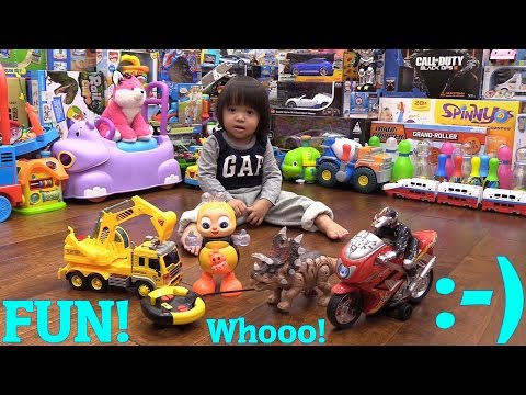 Dinosaur Toy, RC Construction Truck, Motorcycle Toy, Dancing BEE + A Real Motorcycle Ride