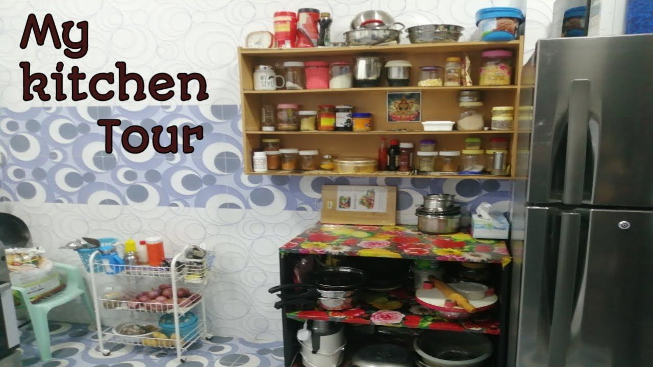 Small Kitchen tour 20 in Tamil   My kitchen organisation Muscat En  Samayalarai gulf tamil life