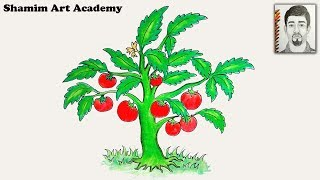 How to Draw a Tomato Tree Very Easy Drawing