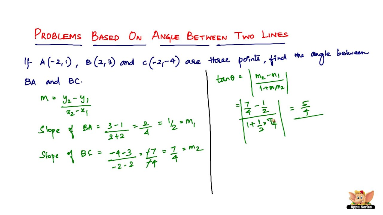 how to find the angle between two points