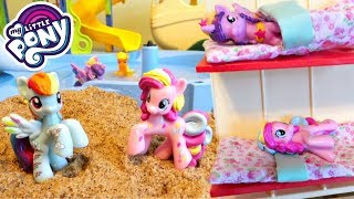 My Little Pony Camping Camper Van Beach Pool Party! | Mommy Etc