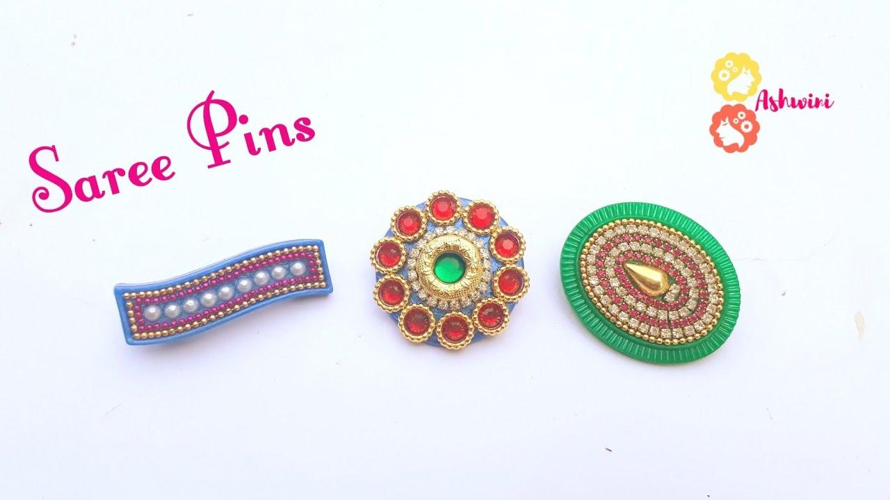 How To Make Designer Saree Pin At Home | DIY | Jewelry Making | Brooch  Making | uppunutiashwini