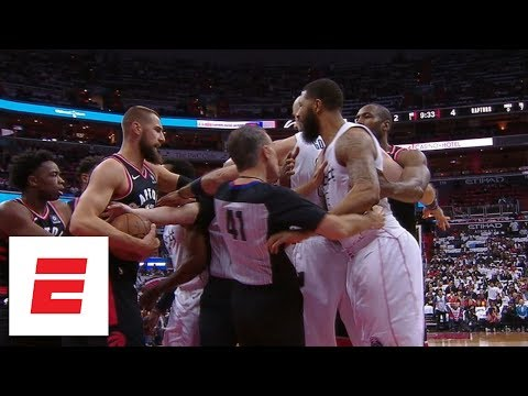 Washington Wizards, Toronto Raptors scuffle just minutes into Game 3 | ESPN