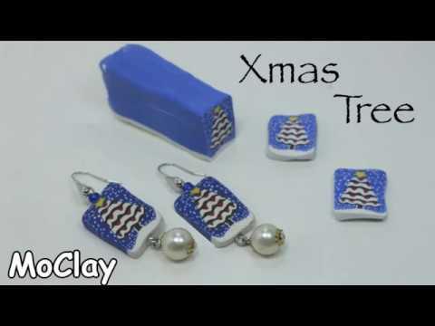 Polymer Clay Christmas Jewelry.Diy Christmas Tree Earrings Polymer Clay Cane