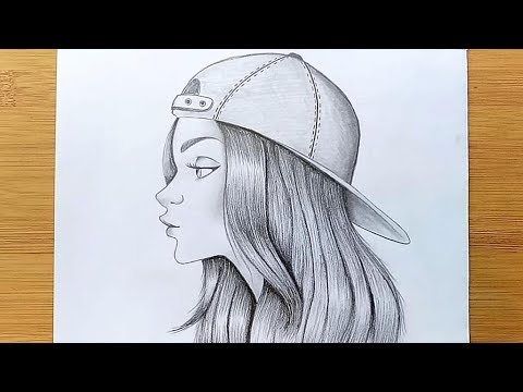 how-to-draw-a-girl-with-cap-for-beginners---step-by-step-||-pencil-sketch
