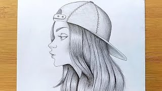 How to Draw a Girl with Cap for BEGINNERS - step by step || Pencil sketch