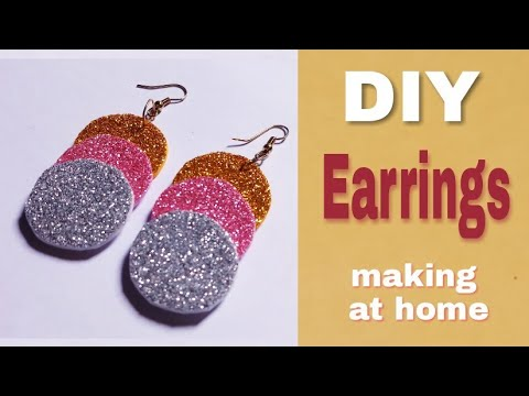 Glitter Papers earrings making at home | Very easy and simple | handmade earrings