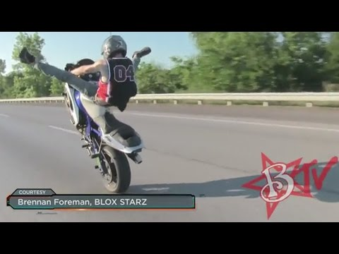 Motorcycle STUNTS Discovery Channel TV SHOW Features BLOX STARZ Stunter Riding LONG Highway WHEELIE