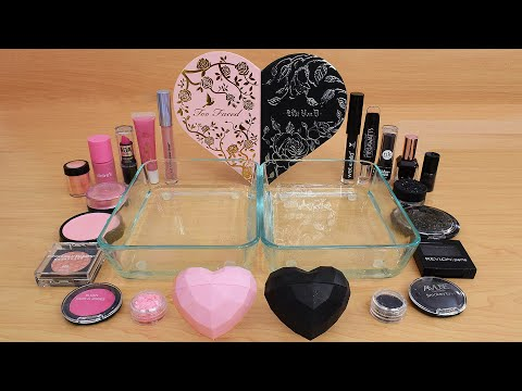 Pink Vs Black - Mixing Makeup Eyeshadow Into Slime ASMR 328 Satisfying Slime Video
