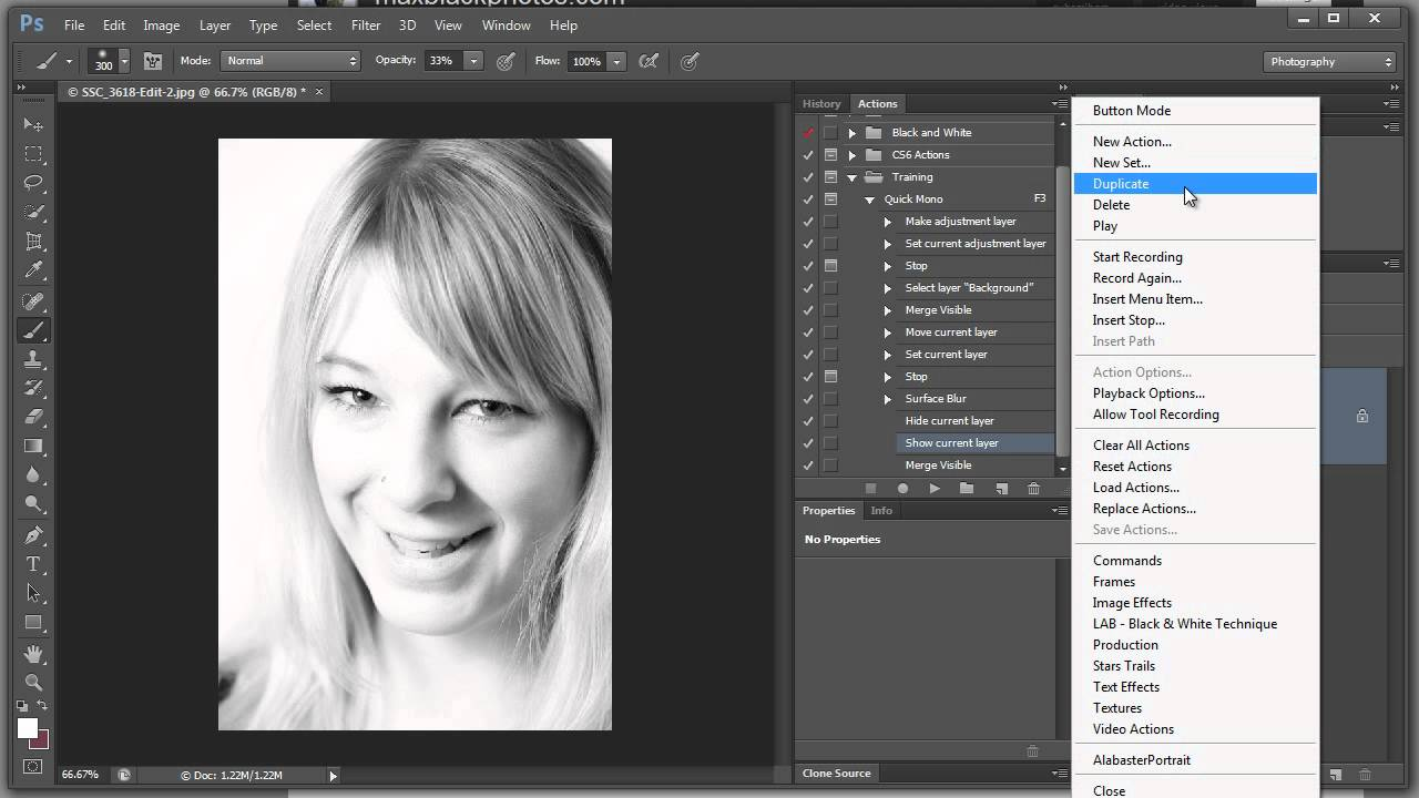 Creating a black and white action then editing it in photoshop cs6
