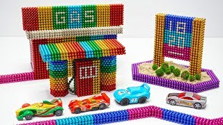 DIY How To Build Rainbow Gas Station With Magnetic Balls kinetic sand - ASMR - Magnetic Toy 4K