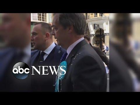 Pro-Brexit leader Nigel Farage hit by milkshake