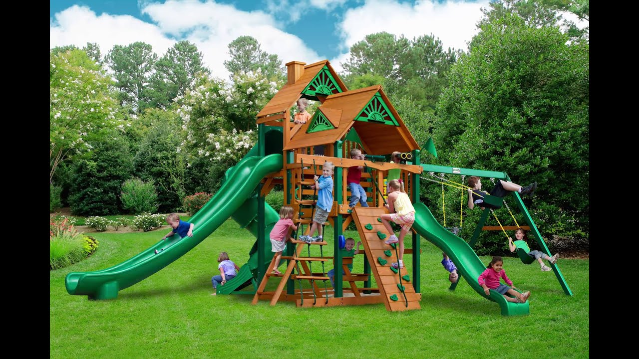 Great Skye II Swing Set w Timber Shield Wood Roof