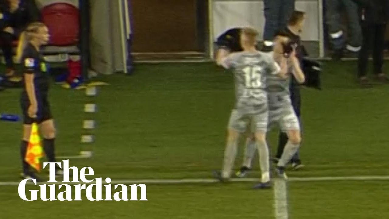 Substitute poked in eye by teammate in touchline high five, then goes off  injured