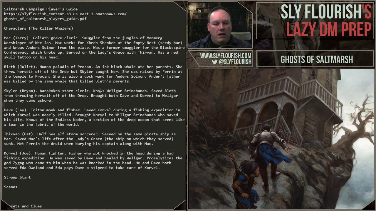 Lazy DM D&D Game Prep: Ghosts of Saltmarsh (4 August July 2019)