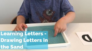 Learning letters - Drawing Letters in the Sand - Montessori kids activity - Learning to write