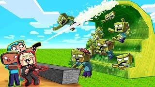 Minecraft - ZOMBIE TSUNAMI BASE CHALLENGE! (Build to Survive)