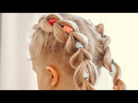 Французские косы с разноцветными резинками