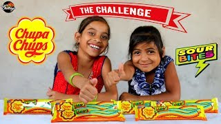 Giant Chupa Chups sour belt  EATING CHALLENGE  #funny kids#