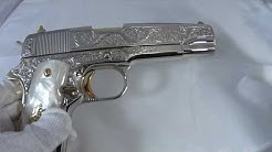 Colt 1911 Custom Hand Engraved .45 Caliber Pistol in Mirror Bright Nickel and 24 Karat Gold for Sale
