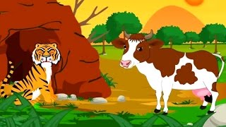 Cow and Tiger Kids Animated Stories in Hindi || Kids Animation World