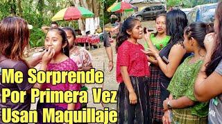 Niñas De Traje Típico De Coban| Por Primera Vez Usan Maquillaje Por Chiki
