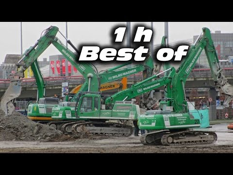 BEST OF CONSTRUCTION SITE ★ DEMOLITION EXCAVATORS IN ACTION TEARING DOWN CAR PARK 1h MOVIE