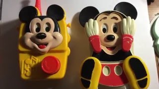 Mickey mouse vintage radio and peek a boo crib toy