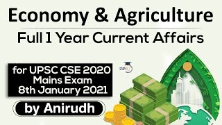 Complete One Year Economy and Agriculture Current Affairs for UPSC CSE Mains 2021 #UPSC #IAS