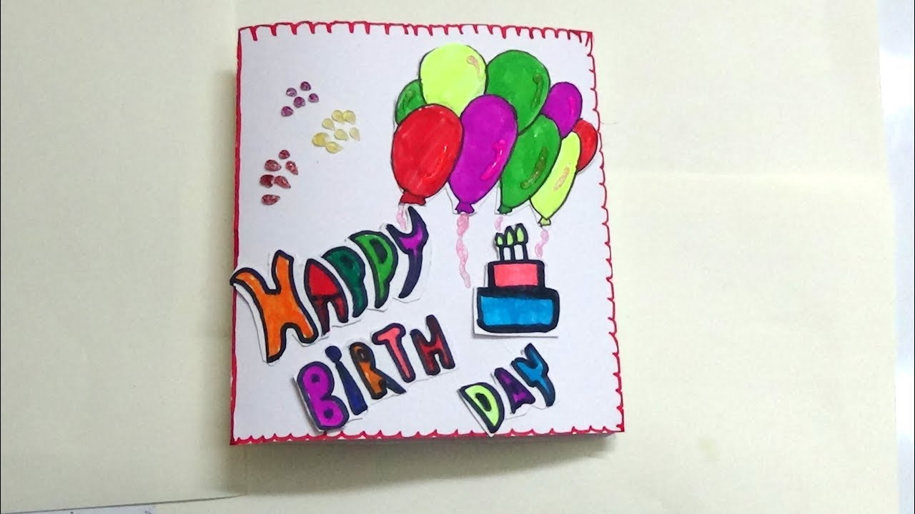 HOW TO MAKE SIMPLE BIRTHDAY CARD FOR KIDS ART AND CRAFT LEARNING
