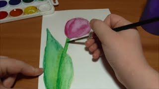 Как нарисовать #тюльпан? / How to draw a #tulip?(В этом я видео я рисую и рассказываю #как нарисовать тюльпан. Рисую я акварельными красками. Таким тюльпаном..., 2016-02-21T14:39:29.000Z)