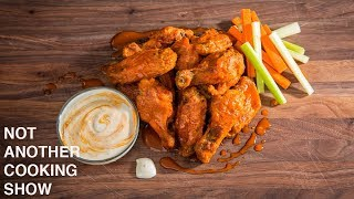 CRISPY OVEN BAKED BUFFALO CHICKEN WINGS WITH HOMEMADE BLUE CHEESE DRESSING