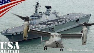 MV-22オスプレイが韓国海軍の「独島艦」に初着艦