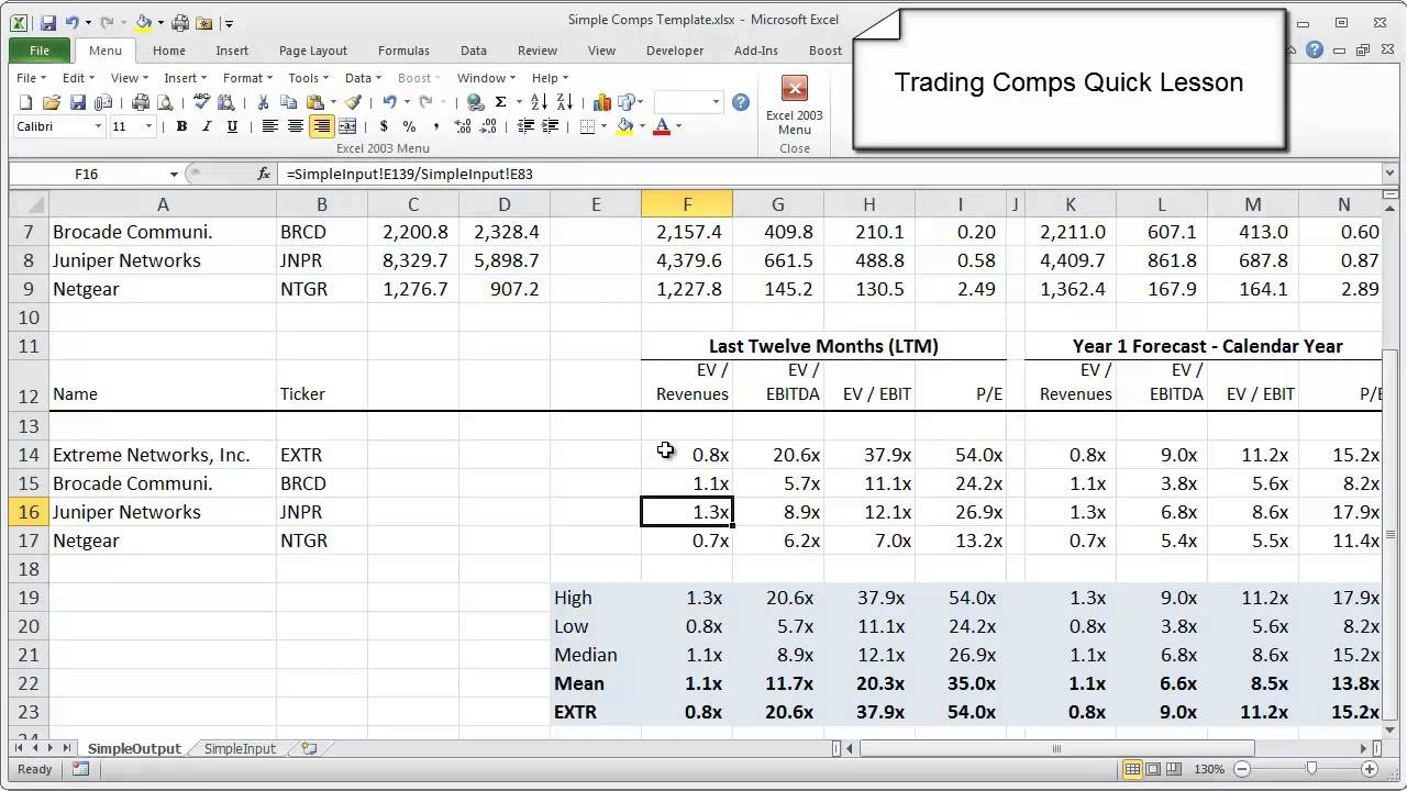 Quick Lesson Trading Comps Model Wall Street Prep