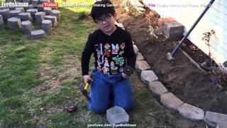 Planting Pink Double Knockout Roses Part 2: Using Landscape Bricks As Borders Or Wall For Garden Bed