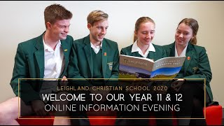 Welcome to the Year 11 & 12 Information Evening for 2020