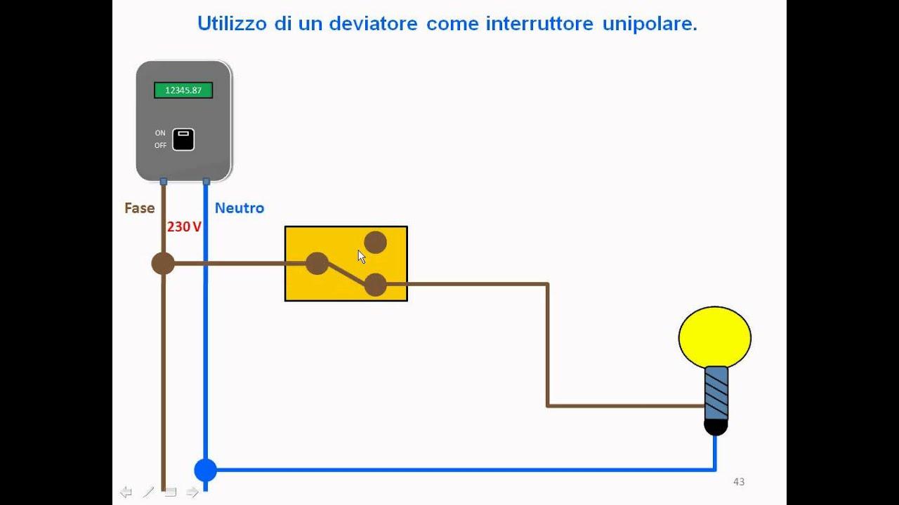 Schema Collegamento Interruttore Luce : T conversione deviatore interruttore youtube