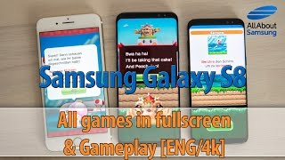 Samsung Galaxy S8 Gameplay and Game Launcher - running all games in 18,5:9 aspect ration ENG 4k
