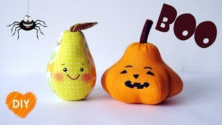 DIY. How to make a kawaii pear and pumpkin for Halloween. FREE Pattern in description.