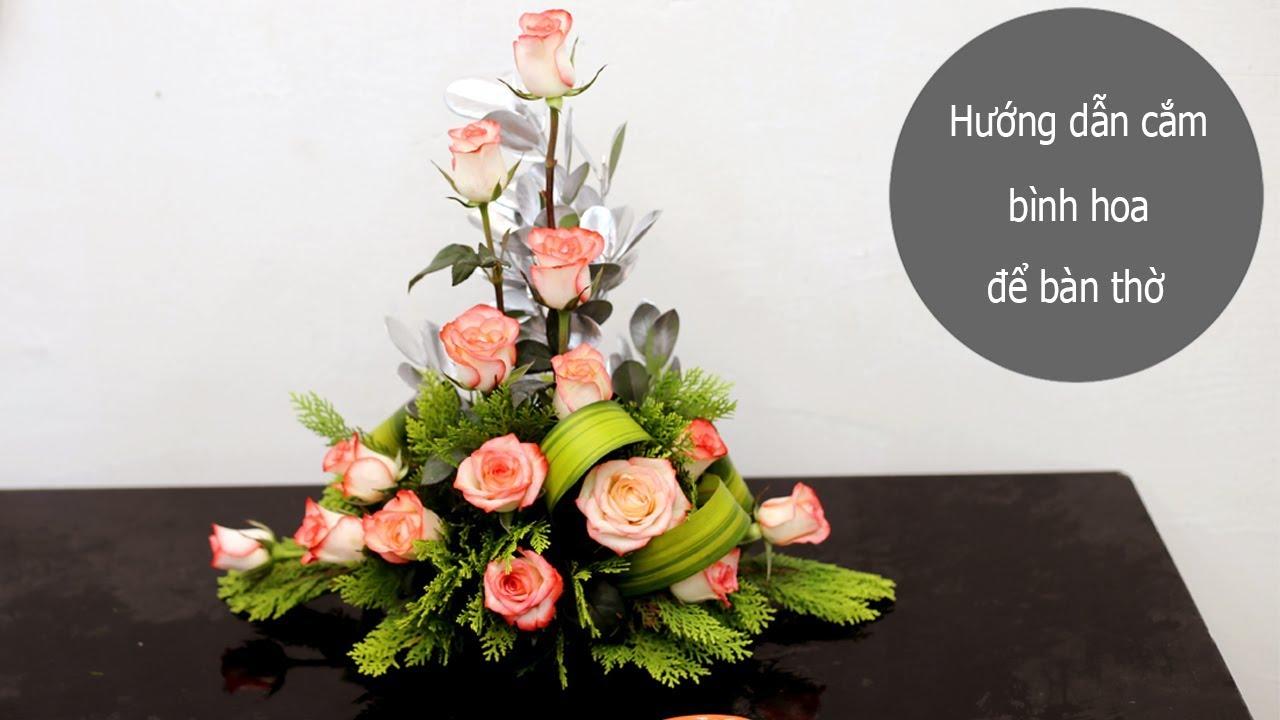 Hướng dẫn cắm hoa hồng dáng chữ T ngược