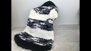 HOW TO HAND KNIT A CHUNKY CHENILLE MIXED COLOR BLANKET