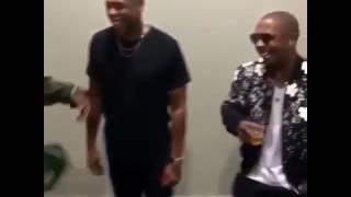 Jay z . Dmx and ja rule kicking it backstage