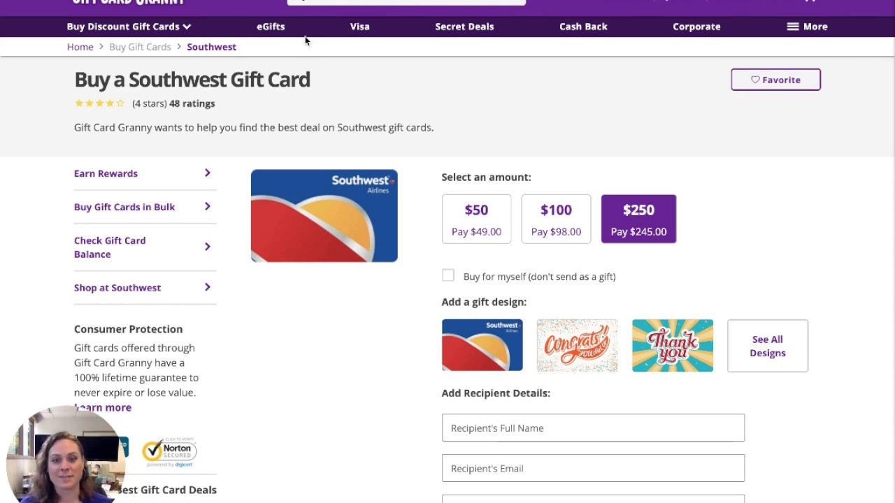 Southwest Gift Cards Gift Card Granny Youtube