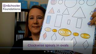 D5-Drawing clockwise spirals in ovals (Handwriting stroke #3 for preschool or kindergarten children)