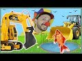 Funny Clown Bob | Construction vehicles Excavator Bulldozer RC Truck Fish for kids | Video for Kids